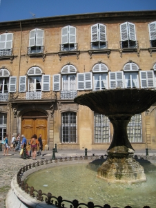 In France, we visited Aix-en-Provence for an afternoon and saw many of its famous fountains