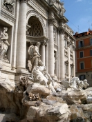 The lovely, crowded Trevi fountain. We also walked a few blocks to the Spanish steps.