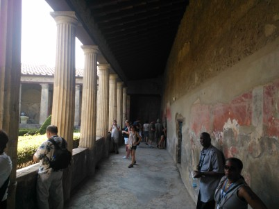 A wealthy person's home in Pompeii. There is still paint on the walls in many of the rooms