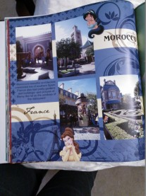 Disney album; CM used to have Disney products. This page is from EPCOT, an original design by me.