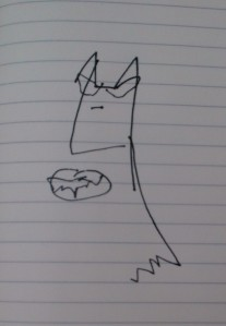 This is a drawing of Batman I did with my eyes closed...