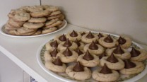 Mint chocolate chip and peanut butter blossoms