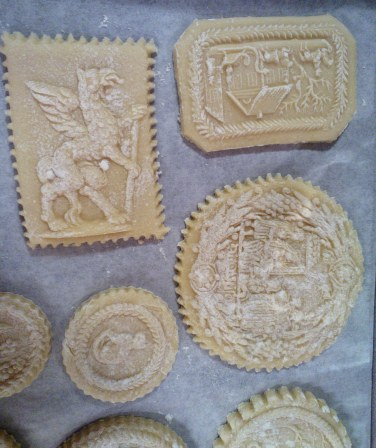 Close-ups of molded cookies