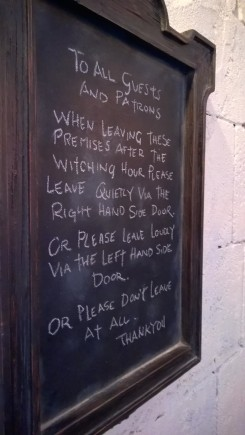 Sign in the Leaky Cauldron