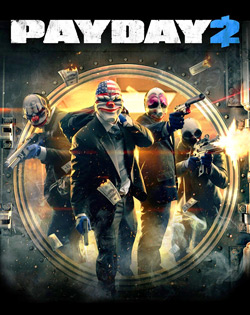 Cover art for Payday2 showing main characters Chains, Dallas, Hoxton, and Wolf