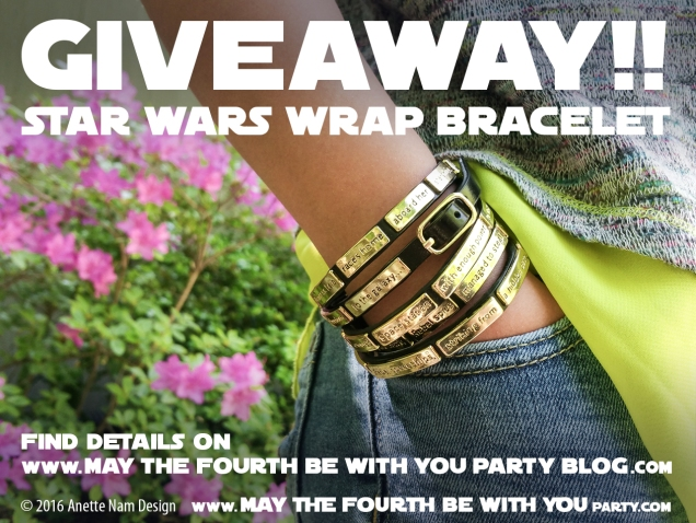 Star Wars Jewelry Crawl Wrap Bracelet giveaway // We add new Star Wars posts to our blog every week! // #starwars #anewhope #jewelry #bracelet #gift #loveandmadness #maythefourthbewithyou #loveandmadness #giveaway // maythefourthbewithyoupartyblog.com